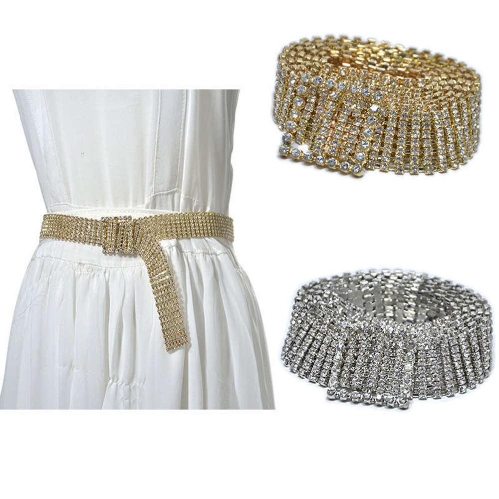 Yeni Bel Zincir Sier Beyaz Ve Altın Moda Kadın Bling Rhintone Kakma Metal Kemer BG-1045