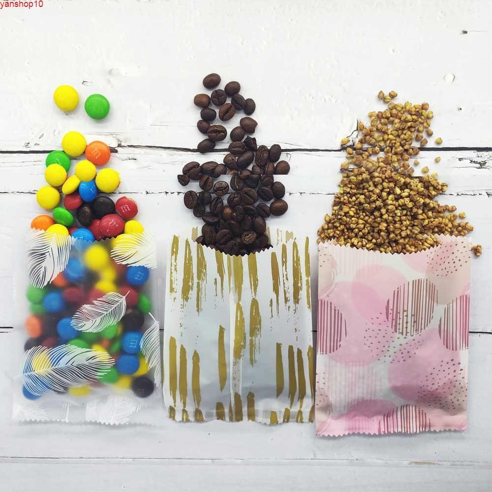 Yeni Tasarım OPP Çanta Şeker Çerez Depolama Açık Üst TestereTooth Gözyaşı Çentik Torbalar Mylar Ambalaj Plastik 100 adet / Packgoods