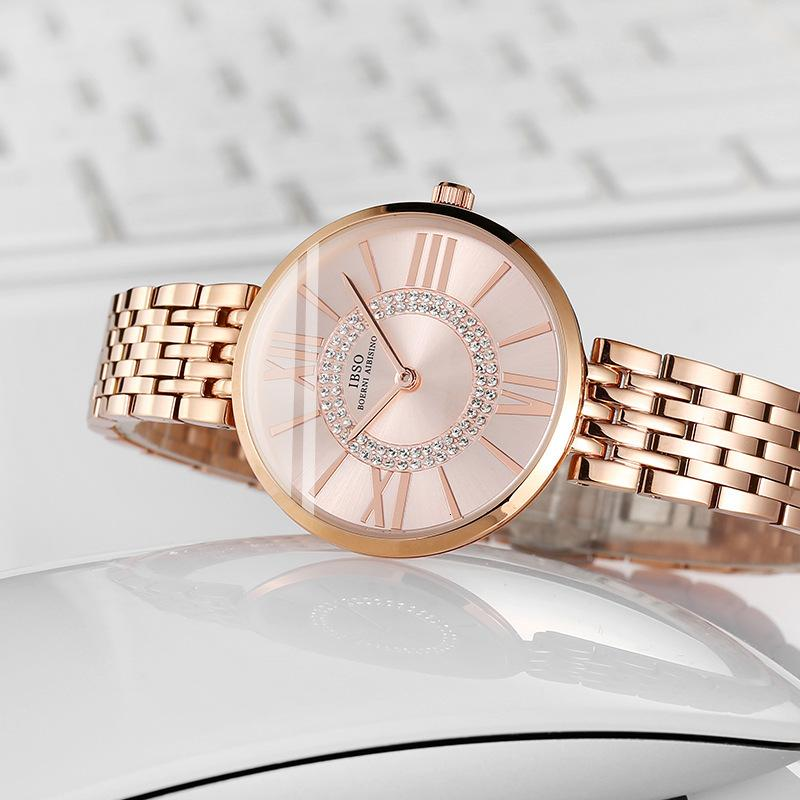 Montre IBSO Watch Women's Diamond Fashion Tendencia de las mujeres a prueba de agua Correa de acero simple Cuarzo