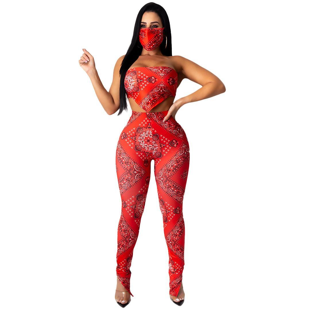 Sexy Club Outfits Bandanna Print Tracksuits Belly Band Crop Top Pencil Pants Two Piece Festival Women Sets Clothes without Mask S-2XL