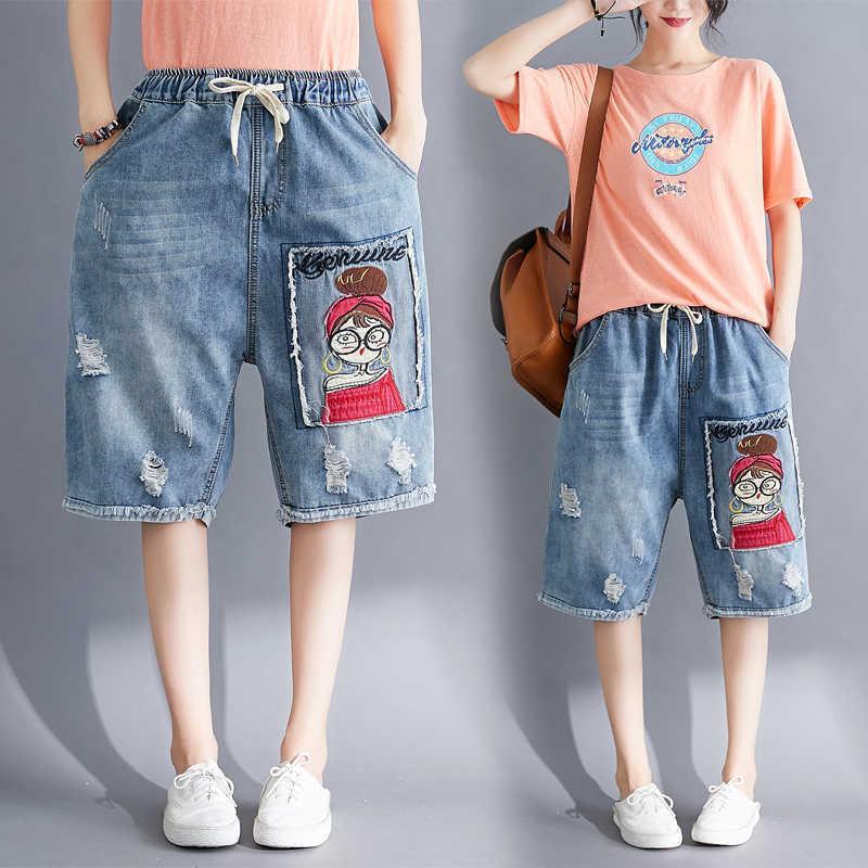 Damen Shorts Frauen Sommer Denim Elastische Kordelzug Stickerei Cartoon Patchwork Vintage Riss Loch Lässige Streetwear für Büro KAD 8GB9