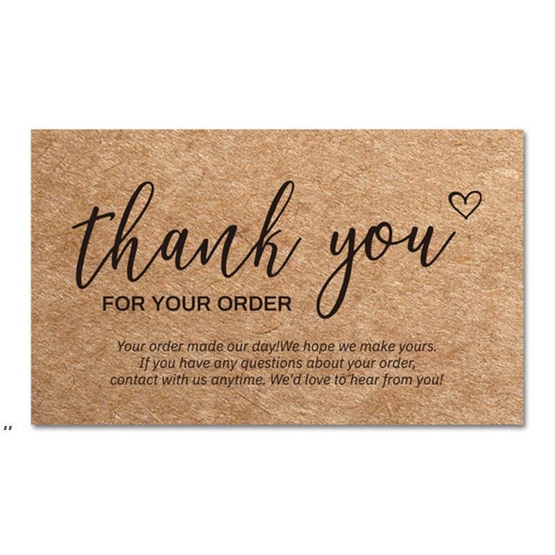 Teşekkür ederim Sipariş Kartları Kraft Kağıt Ürünleri Teşekkürler Kartı Takdir CardStock Küçük işletme müşterisini desteklemek için Satın Alma ekleri DWA7598