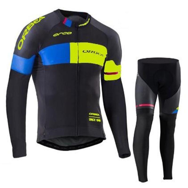 Mens 오르 테 팀 사이클링 저지 정장 긴 소매 MTB 자전거 셔츠와 바지가 통기성 도로 자전거 복장을 세트 Ropa Ciclismo Y21071620