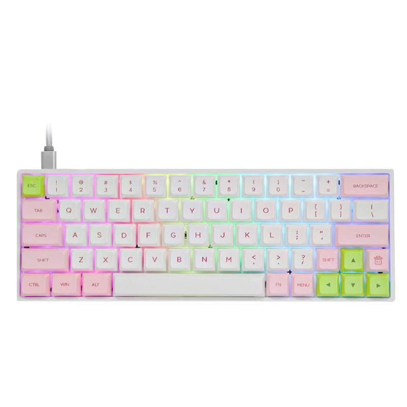 Keys GSA Dye-Sub PBT KeyCaps Wired RGB Backlit Backlit Clavier de jeu mécanique pour Windows / Android Mac OS - Claviers blancs