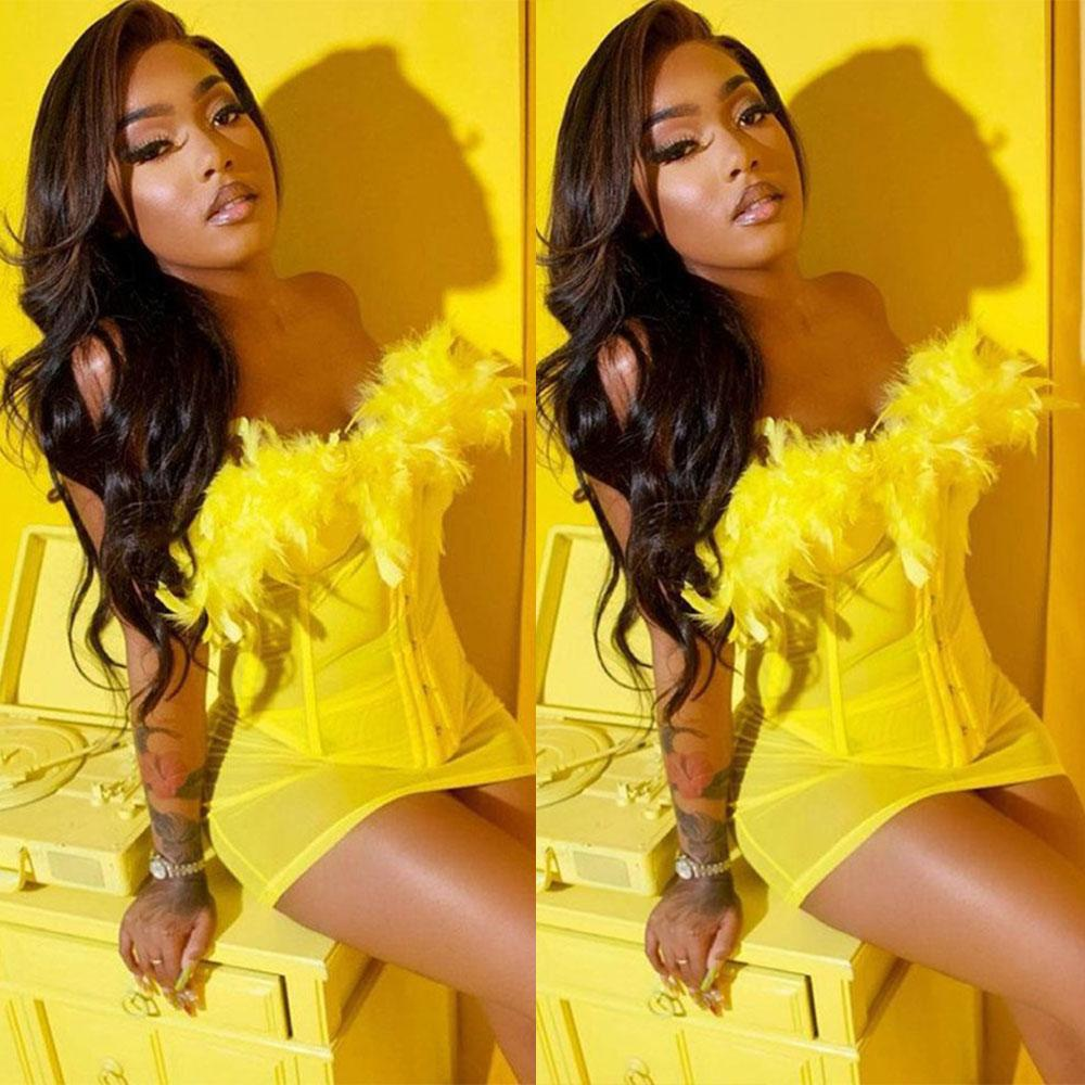 Sexy Mini Mermaid Prom Dresses Yellow Feather Sweetheart Evening Gowns African Cocktail Party Club Wear Outfit