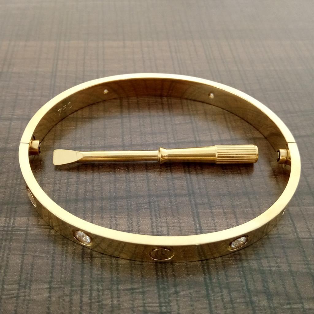 Bracelets d'amour Bracelets 316L Titanium Steel Luxe CZ Pierre Tournevis Carter Bracelets pour Femmes Hommes Aimez Bracelets avec sac d'origine