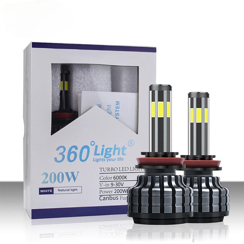 سيارة الصمام المصابيح الأمامية 6 الجانبين ضوء 360 درجة توهج السيارات العلوي الأبيض شاحب الأزرق والأضواء الأصفر البلاستيك H1 H3 H7 H11 H9 H27 سوبر سطوع X6
