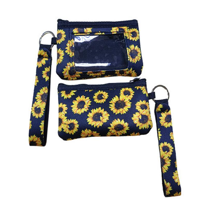 Print Sunflower Leopard Coin Purses Cow Flower MultiFunction Neoprene Passport Cover ID Card Holder Wristlets Clutch Wallet With Keychain 10 colors item