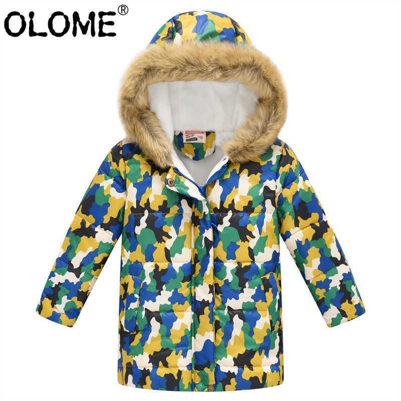 Olome 겨울 어린이 코트 패턴 화 된 아이 두건 재킷 소녀와 소년 복어 재킷 따뜻한 유아 outwear 모피 후드 어린이 옷 Q0827