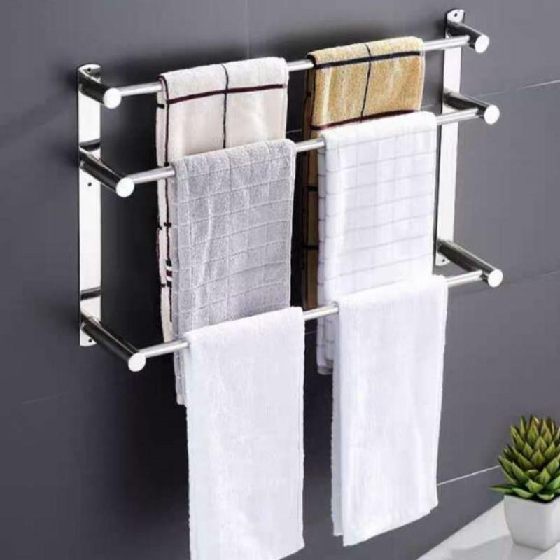 Punch-free Seamless Hanging Towel Rack Toilet Bathroom Stainless Steel Bath Rod G8119 Racks
