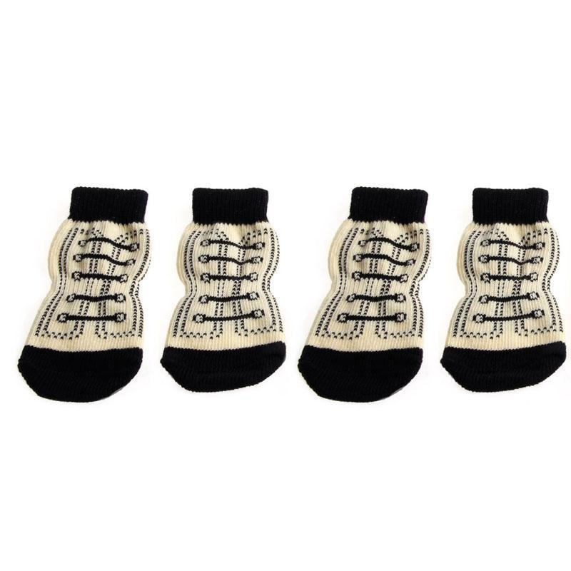 All- Trendy Socks 4pcs Pet Dog Sneakers Shoelace Pattern Non-slip Paws Cover Shoes S-XL Apparel