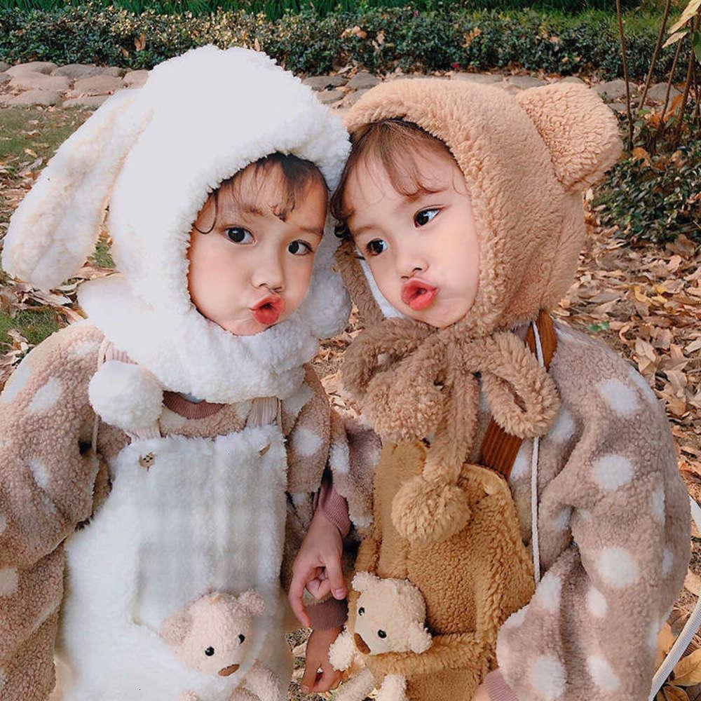 Шарфы обертывают физические шапки с шумом на один кусок набор для детей осень осень зима мальчиков и девочек плюшевая горячая защита от уха