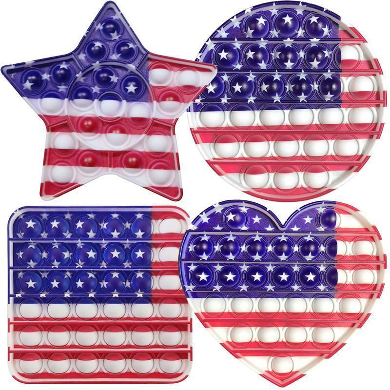 USA Nationalflagge Dekompression Push Time Time Toy America Flagge Sensorische Pädagogische Spielzeug Regenbogen Blase Angst Stress Relief Spielzeug MMA147