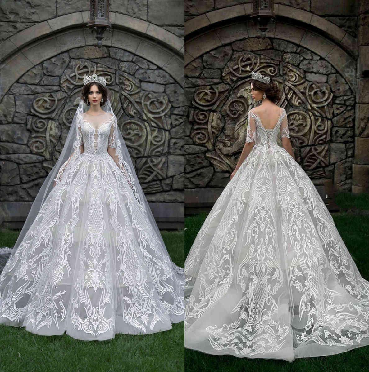 Robe de billes de luxe robe de mariée Robes de mariée Jewel col à moitié manches romandes de mariée chapelle Train Plus Taille de la cathédrale de Dubai Cathédrale Robes de mariée sur mesure