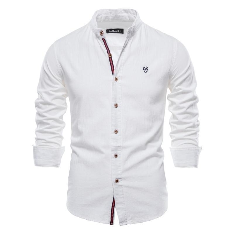 Negizber Yeni Bahar Pamuk Keten Gömlek Erkekler Katı Renk Yüksek Kalite Uzun Kollu Gömlek Erkekler Için Bahar Rahat Sosyal Erkek Gömlek 210410
