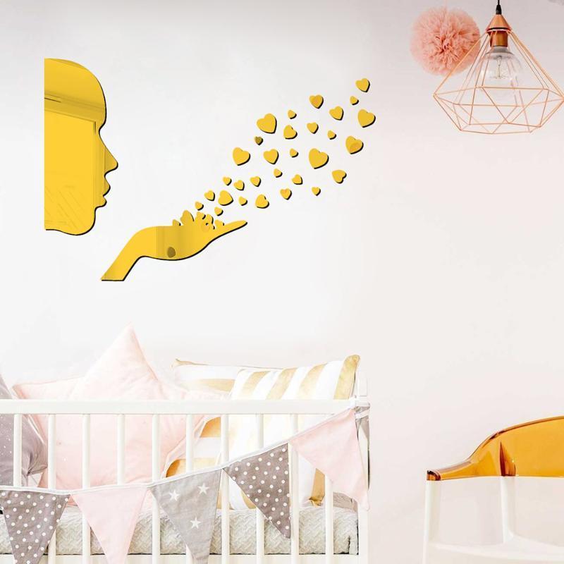 Etiquetas engomadas de la pared 32 unids / espejo acrílico mujer cara cara sala de estar dormitorio baño ajuste decoración