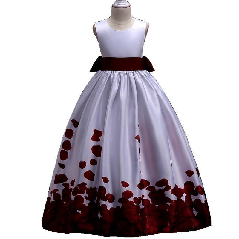 Vestidos de niña Niños europeos Vino de boda Red Blue Girls Verano Vestido floral Princess Ropa de 5 a 13 14 15 16 años