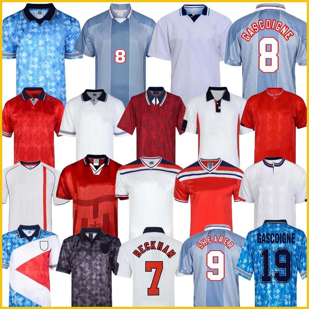 1996 Inglaterra camiseta de fútbol retro Gascoigne ESQUILADOR McManaman SOUTHGATE de época clásica Sheringham 96 98 hogar lejos camiseta de fútbol Beckham