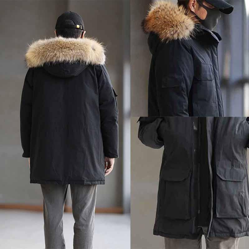 Chaqueta de invierno hombres gran lobo real piel con capucha con capucha blanca abrigos cálidos parka rompevientos ropa exterior chaquetas Doudoune homme 3 estilo para elegir