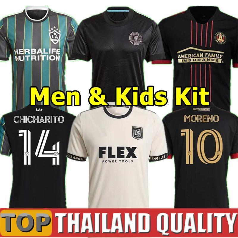 MLS 21 La Galaxy Futebol Jerseys 22 Atlanta United FC Camisa de Futebol 2021 Inter Miami Beckham Chicharito 2022 LAFC VELA Ventilador Versão Men Kids Kit