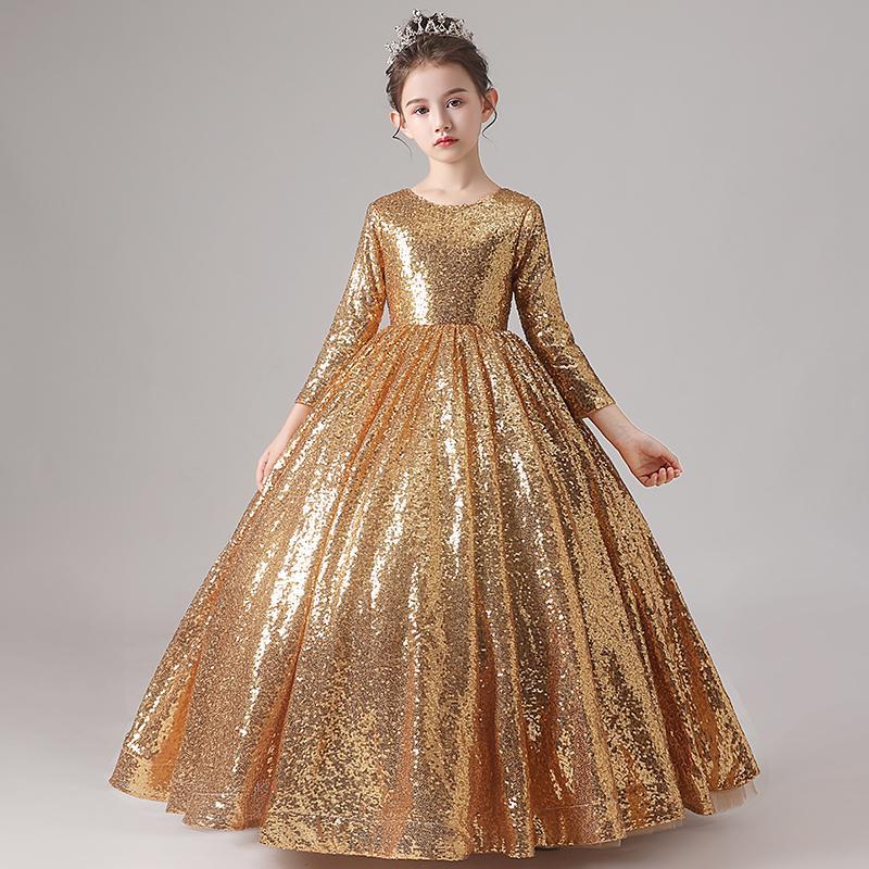 2021 Gold Pailletten Blumenkleid Kleid Kugelkleid Drei Viertelhülsen Reißverschluss zurück