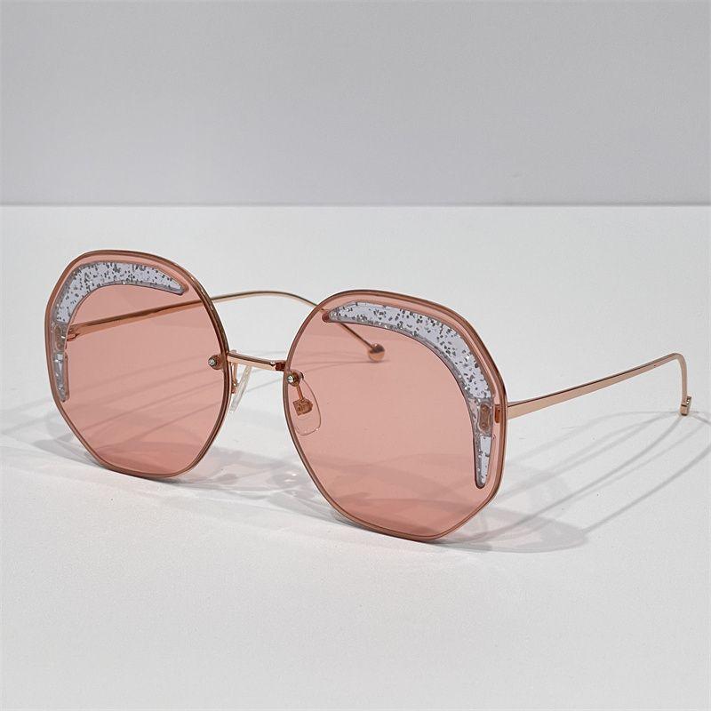 Projeto de marca mulheres óculos de sol de moda de luxo estilo de sol redondo sem aro verão colorido lente senhoras feriado óculos de sol de grandes dimensões