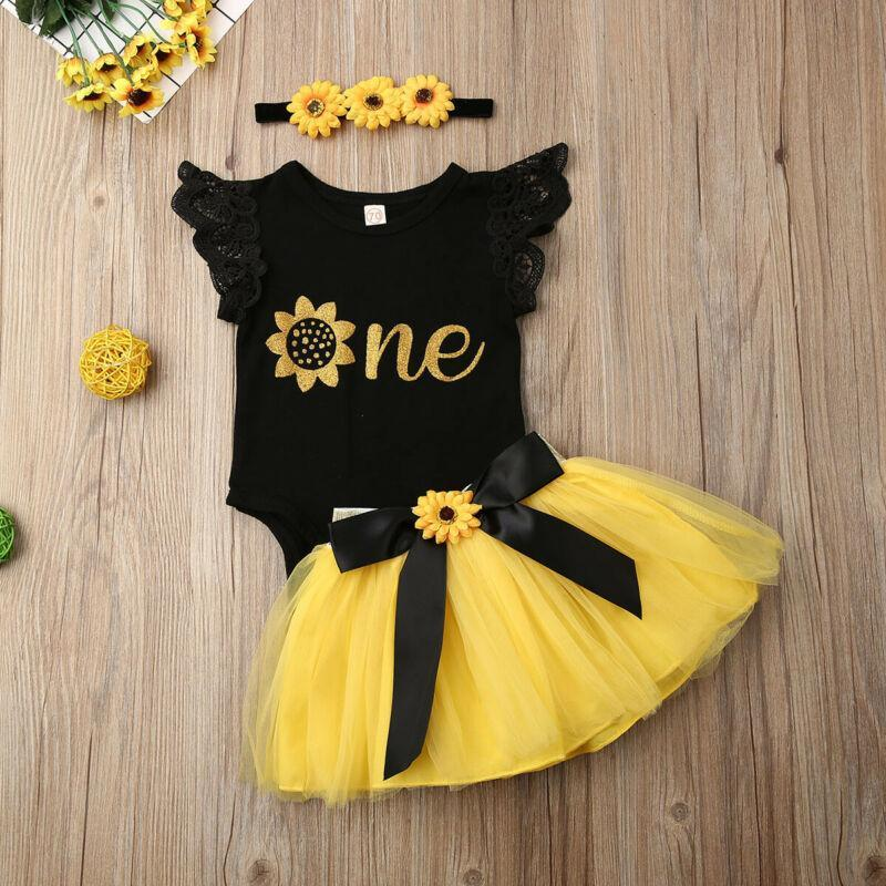 Baby Summer Clothing 3pcs Infant Girl Letter One Birthday Outfit Party Sunflower Romper Bowknot Cake Smash Tutu Dress Sets