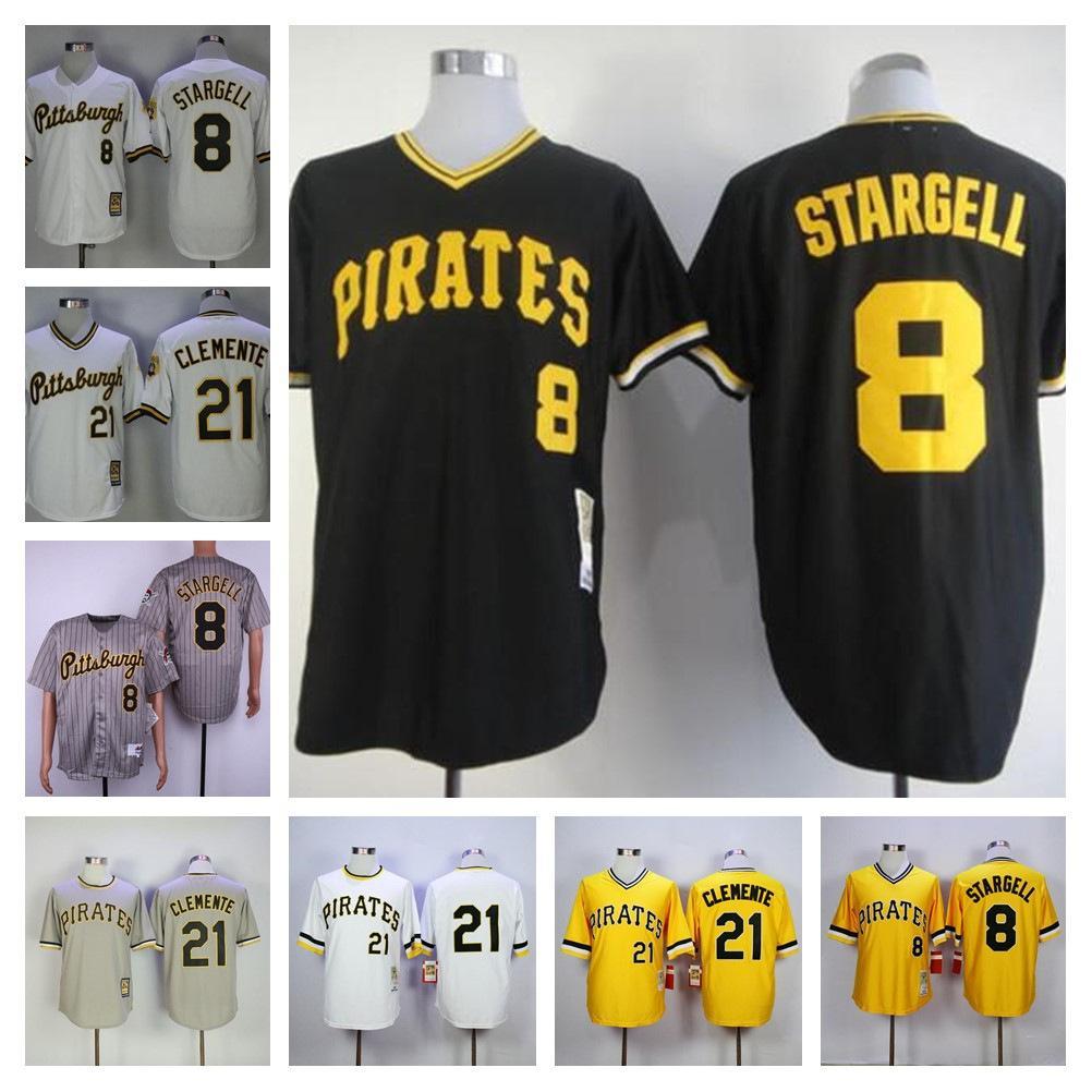 레트로 남자 저지 8 윌리 스타 겔 9 빌 마자 로스 키 # 21 Clemente 검은 노란색 회색 흰색 야구 유니폼