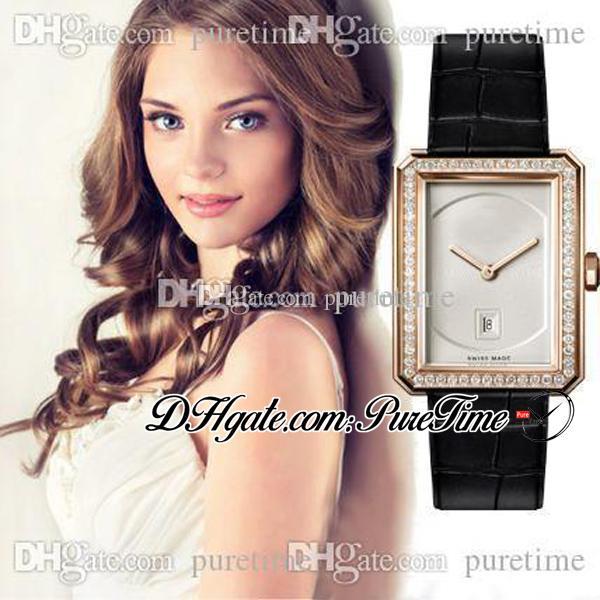 Erkek-arkadaş H4469 İsviçre Kuvars Bayan İzle Diamonds Çerçeve 18 K Gül Altın Beyaz Dial Deri Kayış Bayanlar Saatler Puretime F01E5