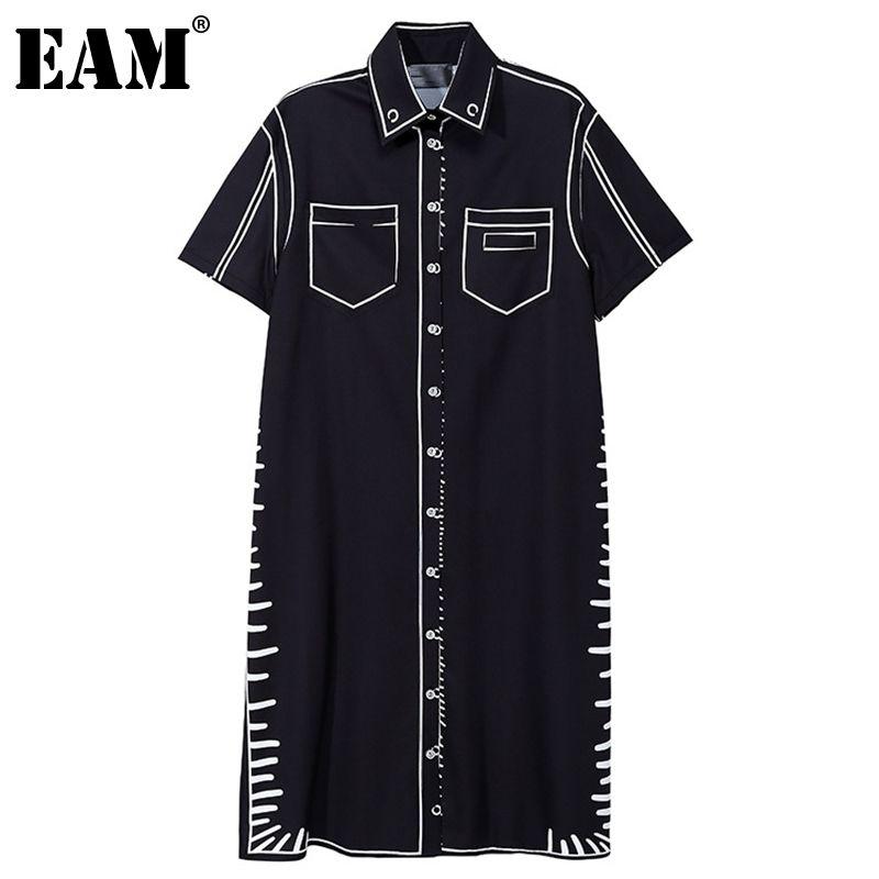 [Eam] Frauen Schwarz Große Größe Drucktasche Casual Kleid Revers Kurzarm Lose Fit Mode Frühling Sommer 1DD6985 210512