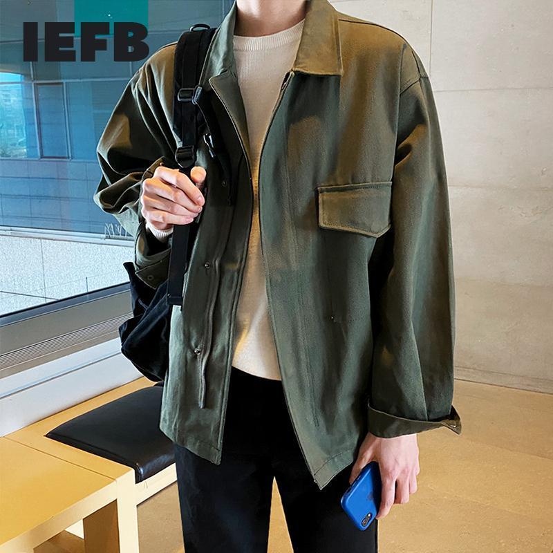 Jaquetas masculinas IEFB Roupas Coreano Outerwear Casual Casaco 2021 Primavera e Tendência Loose Work Jacket Roupas para Zíper para Masculino 9Y4314