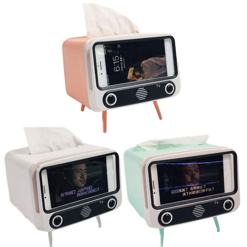 Creative 2 In 1 TV Tissue Box Desktop Paper Holder Dispenser Storage Napkin Case Organizer With Mobile Phone Boxes & Napkins