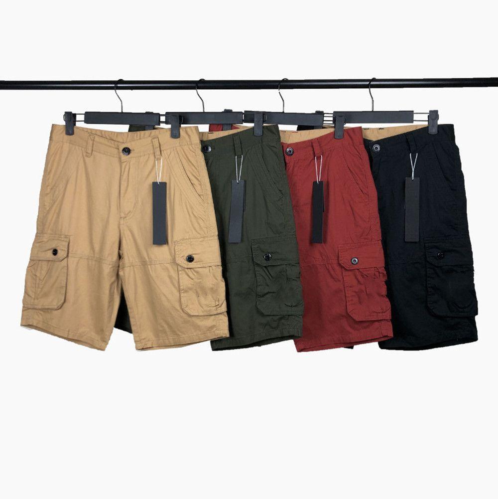 Calções masculinas verão calças clássicas moda ao ar livre algodão cargo shorts distintivo letras médias calças hip hop quinto calças casuais homens roupas