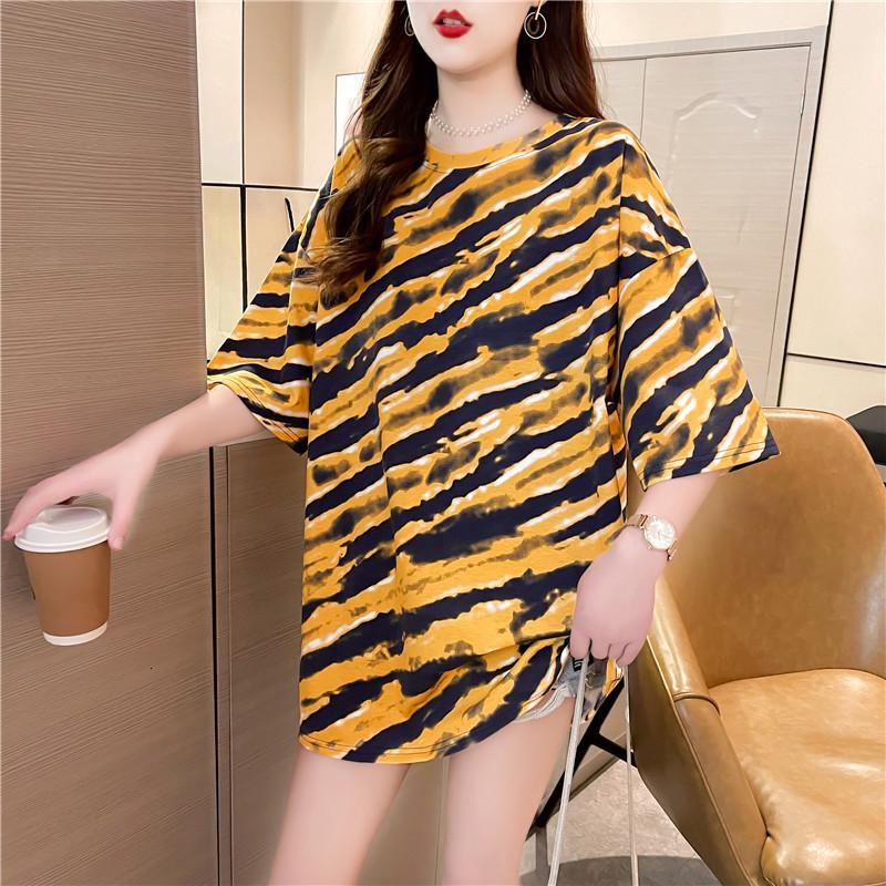 Printemps et été 2021 Nouveau t-shirt lâche grand taille coréenne classique léopard print de longueur moyenne longueur manches courtes supérieure femelle