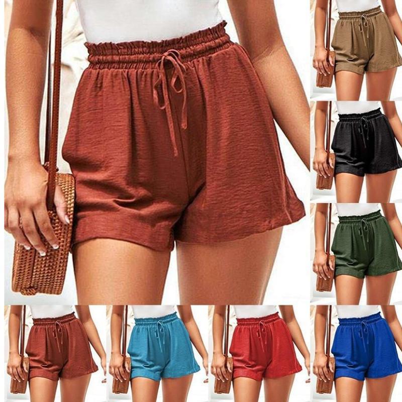 2021 Summer Fashion Ladies Belt Elastic Lace-up Shorts Casual Loose