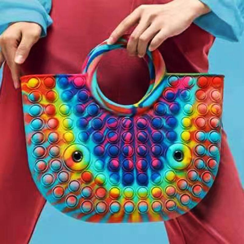 Silicone Rainbow Spinge It Bubble Fashion Handbag Fidget Party Semplice Dimple Dito Giocattoli DECOMPRESSION DECOMPRESSION HANDBAG