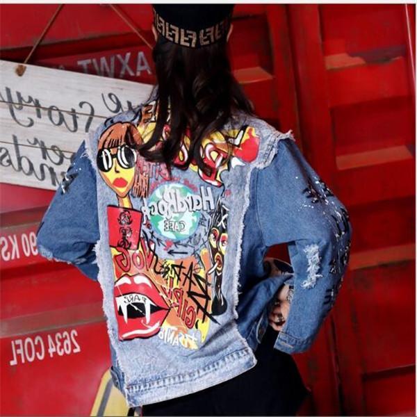 Giacca da donna in denim da donna primavera e autunno Fashion Graffiti stampa manica lunga disegni allentati jean coat femminile casual tuta sportiva