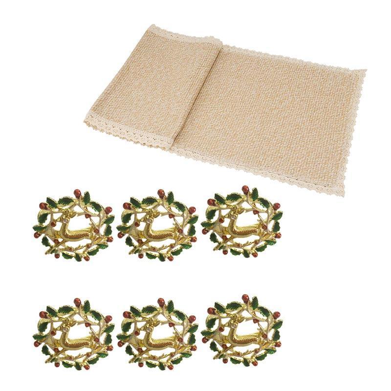 PCS Serviette Ring Golden Elk 1 Beige Spitze Tischläufer, Teewäsche (12wx82inch l) Ringe