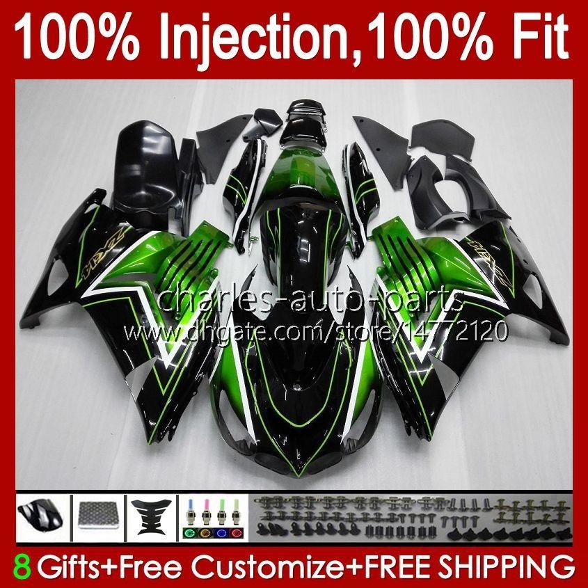 Injection Fairings For KAWASAKI NINJA ZZR 1400 CC ZX 14R 14 R ZZR1400 06-11 4No.0 ZX14R 06 07 08 09 10 11 ZZR-1400 ZX-14R 2006 2007 2008 2009 2010 2011 OEM Bodys Green Black