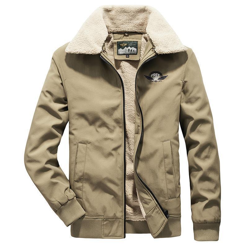 Casacos masculinos outono e inverno casual algodão acolchoado jaqueta destacável lapela grossa casacos quente masculino moda cordeiro veludo outerwear