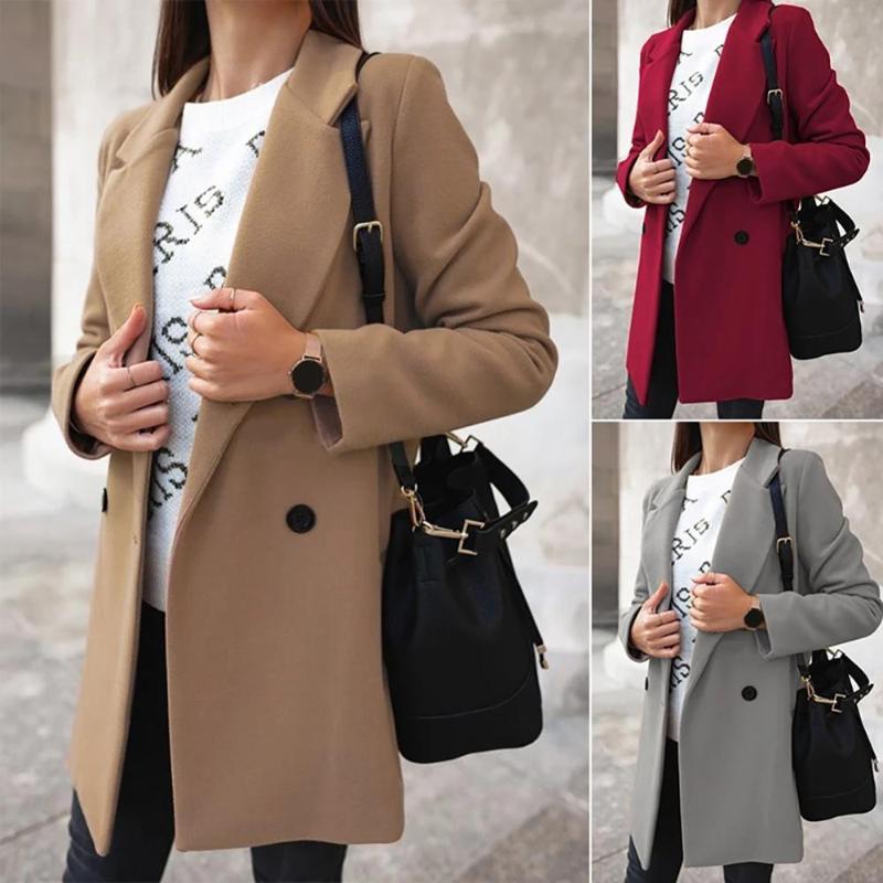 2021Women'in sonbahar ve kış moda geniş yaka çift hat düğmesi sıcak ceket düz renk kadın ceketler