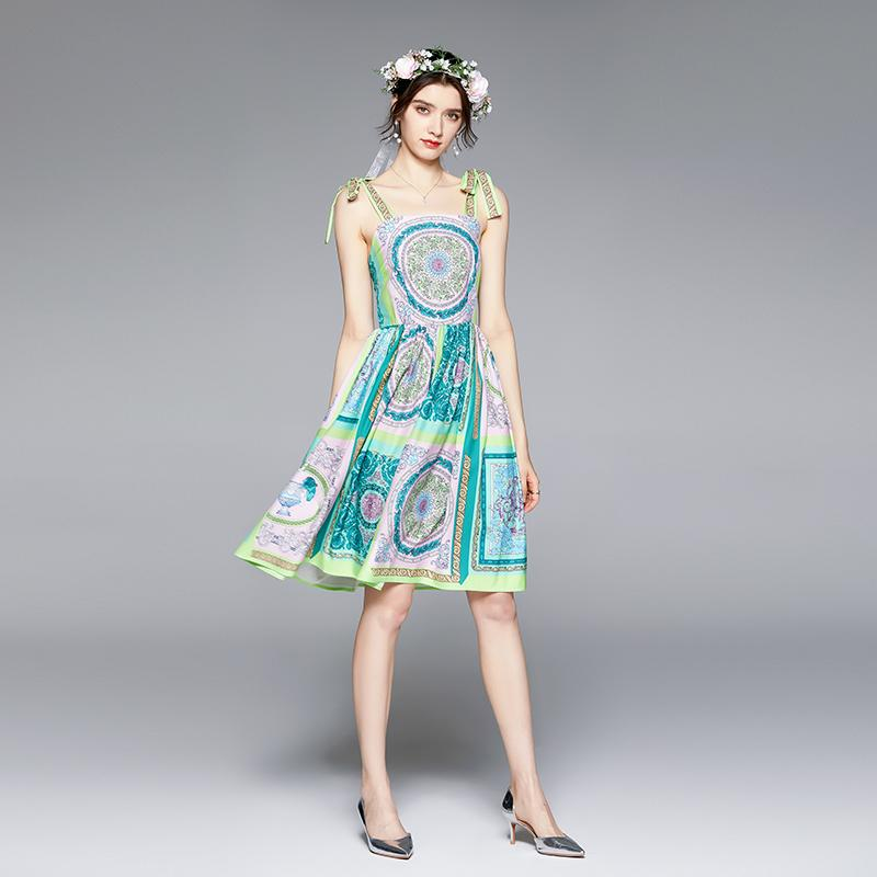 럭셔리 빈티지 나비 넥타이 스트랩 드레스 여성 2021 여름 활주로 디자이너 우아한 인쇄 섹시한 숙 녀 민소매 캐주얼 해변 드레스 슬림 휴가 파티 Frocks A-Line