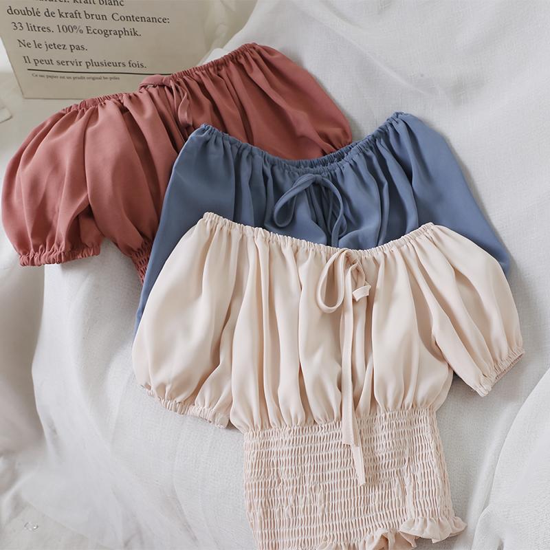 Frauen sommer slash neck laterne sleeve rüschen hemd lässig schnelle up verband kurze elastische schlanke hohe taille pullover bluse tops frauen bous