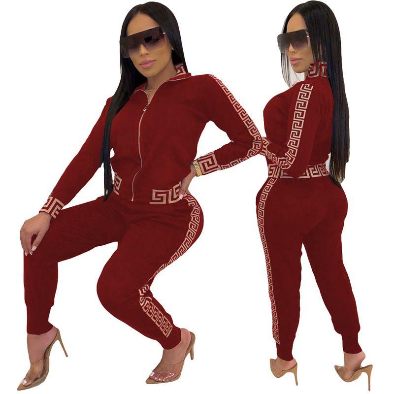 2021 Y2K TRACKSUIT DONNE ELEGANTE DUE PECKES SET SETS SET FEMMINA ELESTICA Plus Size Greco Fret Stampa Stampa Pant Pant Pant Set Jogging femme