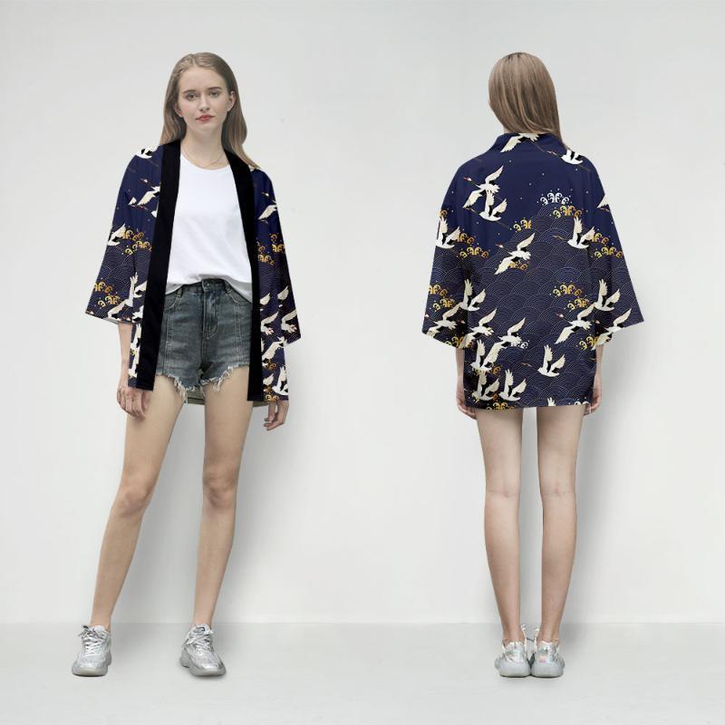 Japanischer Kimonos Sommer 2021 Frauen Bluse und Tops Langarm Cardigan Kimono Traditionelle Vintage Ästhetische Frauen Blusen Hemden