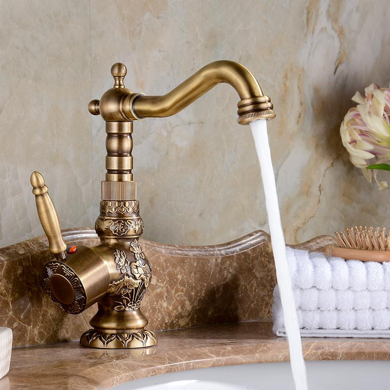 Kitchen Faucets European Antique Retro Carved Basin Rotating Single Handle Hole And Cold Water Tap Brass Faucet /