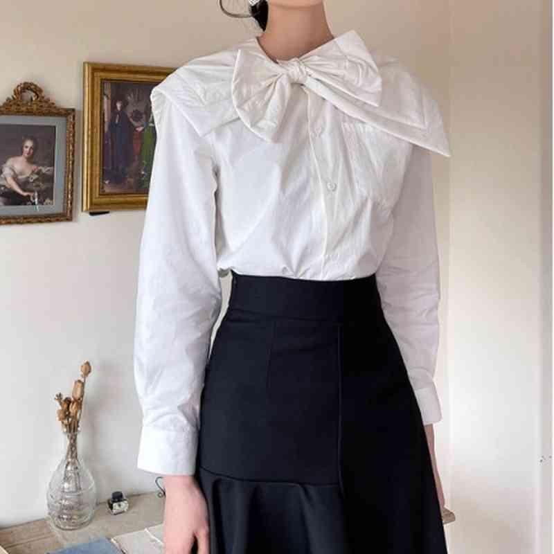 Chic Bow Patchwork Single Breasted Shirts Casual Sweet Office Lady Women Blouses Elegant Temperament All-match Femme Blusas 210524