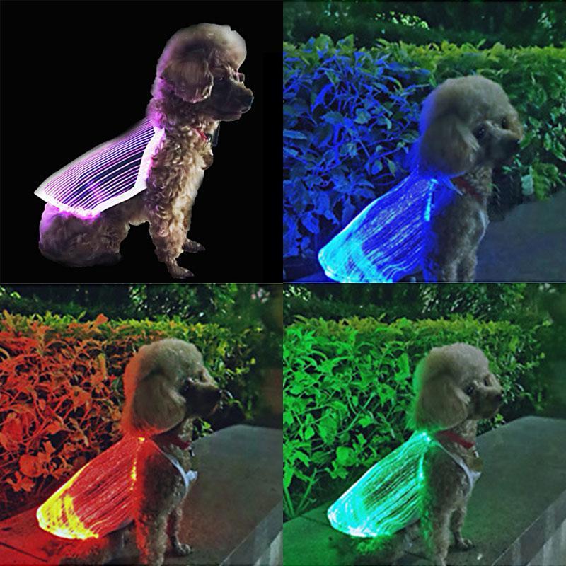 مكافحة المفقودة LED متوهجة القط والكلاب الملابس أحجام متعددة USB قابلة للشحن ملون الملابس مضيئة للحيوانات الأليفة