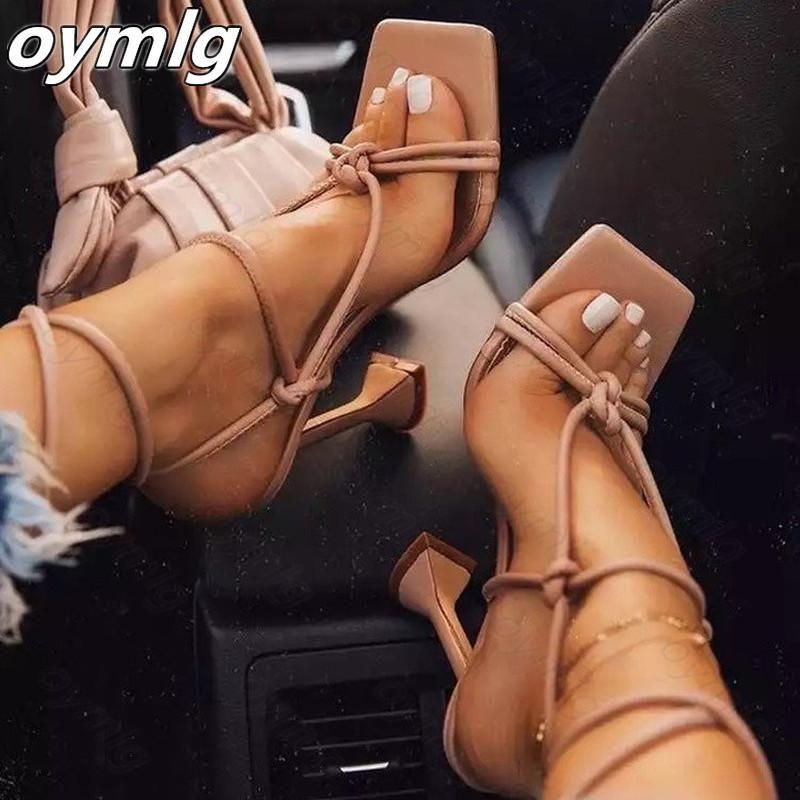 Sandálias Sandálias Sexy Summer Shoes Gladiador Clip Clip Toe Heaver Heaver Buckle Strap Bombas SQure Zapatos de Mujer Tacon Dress