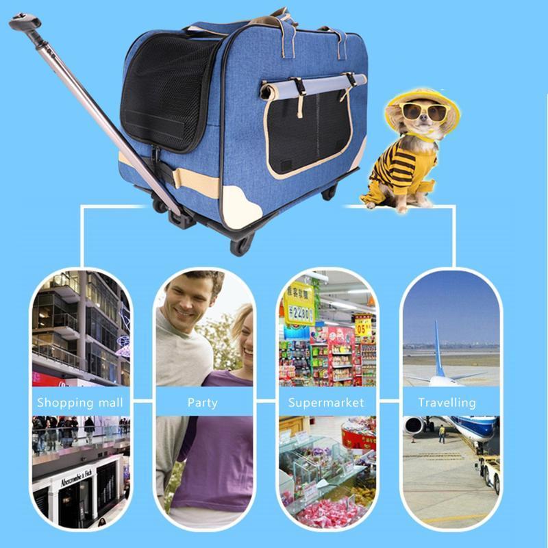 الكلب مقعد السيارة يغطي شبكة السفر المحمولة حقيبة الظهر 2021 الحيوانات الأليفة حاملة عجلات المتداول عربة حقيبة